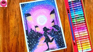 Rainy season scenery drawing for beginners   A girl walking in the Rain oil pastel drawingll