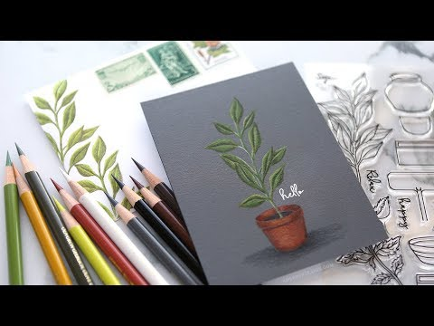 Card & Envelope - Faber-Castell Polychromos on Dark Cardstock