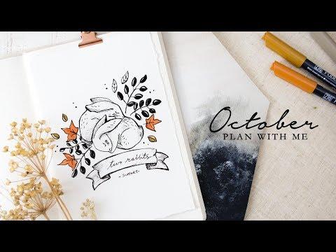 Plan with me   October 2018 Bullet Journal Setup + Pumpkin Tutorial! 🎃