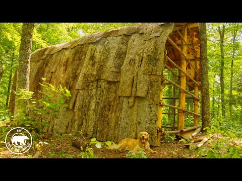 4 Dogs and 4 Guys Build a Longhouse Using Hand Tools and Natural Materials | Bushcraft