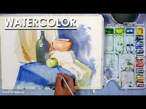 Watercolor Still Life Painting : Utensils & Fruit in a Drappery