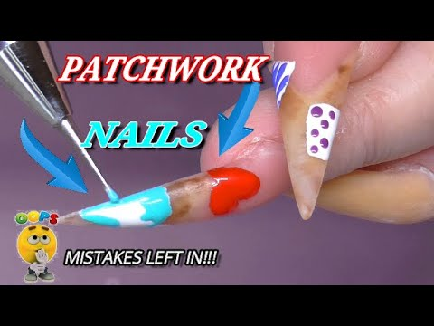 Patchwork Abstract Design On Long Stiletto Nails | ALL MY MISTAKES LEFT IN!!! | ABSOLUTE NAILS
