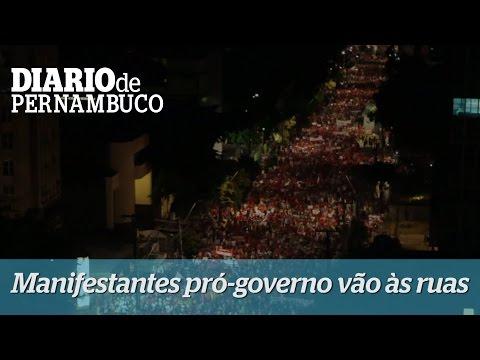 Manifestantes pr�-Dilma e Lula tomam �s ruas do Recife