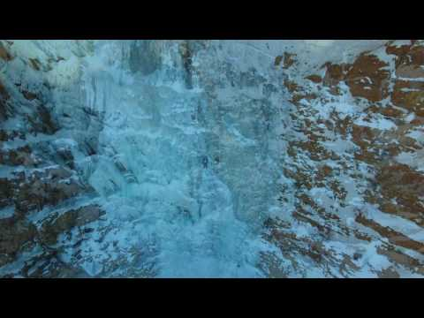 Ice Climber in Ogden Waterfall Canyon Utah by Drone
