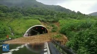 Video captures moment landslide occurs on expressway in E China