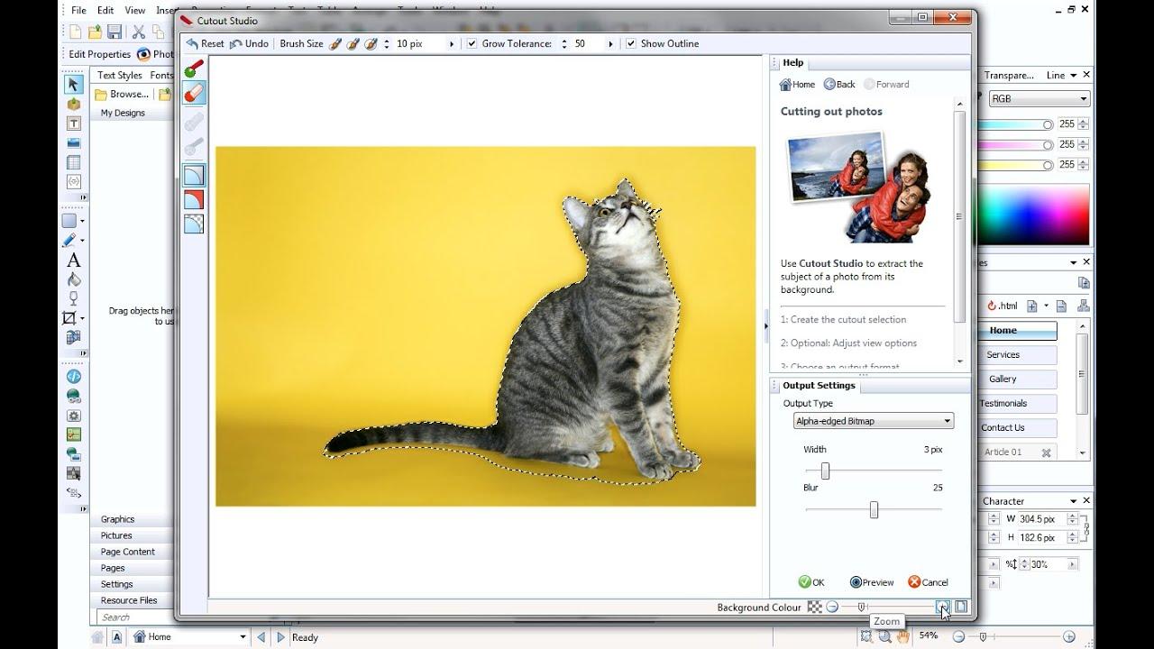Serif WebPlus X7/X8 Tutorial - Pictures 3: Cutout Studio
