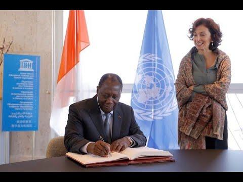 SEM Alassane OUATTARA, a eu une rencontre avec la Directrice Générale de l'UNESCO, Audrey AZOULAY