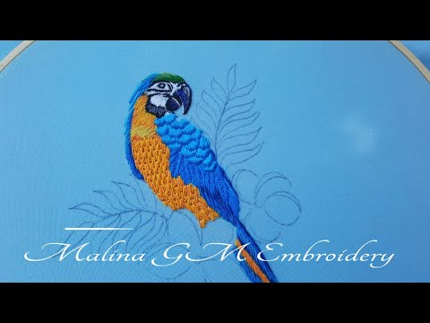 Blue parrot macaw   How to embroider a parrot   (In detail)