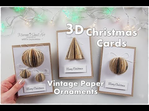 DIY 3D Christmas Cards with Vintage Paper Ornaments ♡ Maremi's Small Art ♡