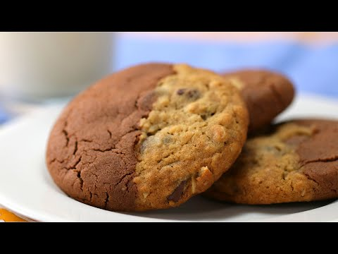 Double-Sided Cookie With Oatmeal Chocolate Chip And Chocolate Peanut Butter ? Tasty