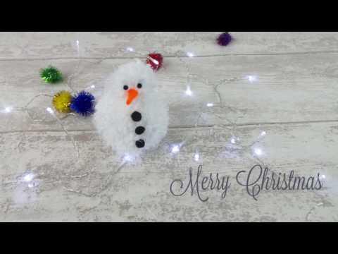 Pompom Snowman How to