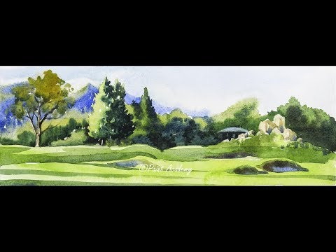 Watercolor Panoramic Landscape | Mountains, Trees, Valley Watercolor Technique