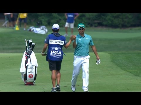 Hideki Matsuyama jars approach for eagle at PGA Championship
