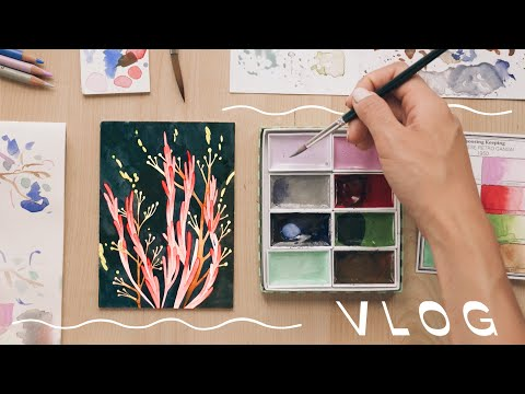 painting with retro watercolor sets (1950)   ✽  draw with me   ✽