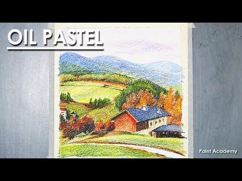 Oil Pastel Mountain Valley step by step Drawing