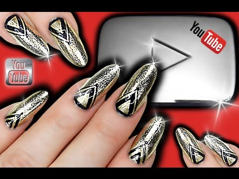 SILVER CHROME GEOMETRIC NAILS | YouTube Nail Art | Silver Play Button Nailart | Black & Silver Nails