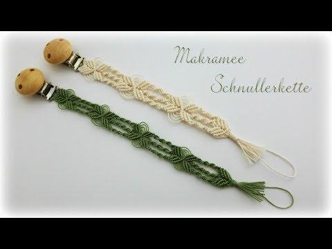 Makramee Schnullerkette * DIY * Macrame Pacifier Clip [eng sub]