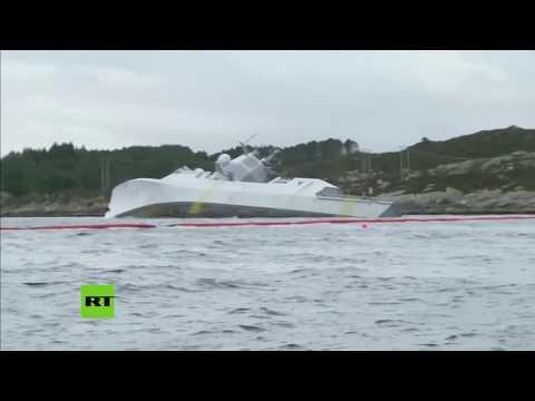 Una fragata noruega podría hundirse tras chocar contra un petrolero