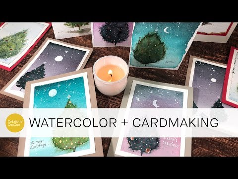 watercolor: fun & fluffy christmas tree cards