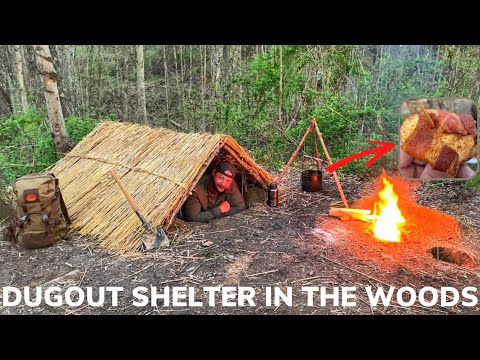 Solo Overnight Building a Dugout Grass Shelter In The Woods With Fried Bacon and Eggs