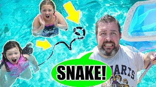 Ava Isla and Olivia PRANK on DAD with a SNAKE in our POOL! Funny Prank