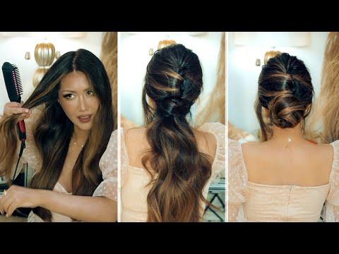 ✦7 Lazy ELEGANT Holiday HAIRSTYLES ?  2020 | Updo Hair Tutorial | ft. Minizone Straightener Brush