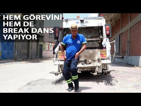 Adanalı Temizlik İşçisinden Çöp Toplarken 'Break Dans'