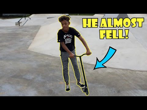 TREY THINKS HE'S A PRO SCOOTER AND ALMOST FELL!!! *The Nev Fam*