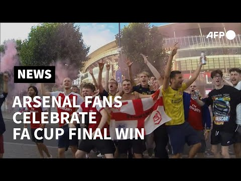 Arsenal fans celebrate win against Chelsea in FA Cup final   AFP photo