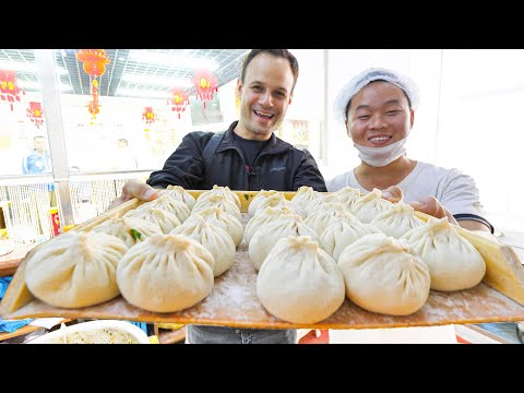 Most SATISFYING Chinese Street Food FACTORY (10,000 BAOZI/Day) + Muslim BREAKFAST Street Food China!