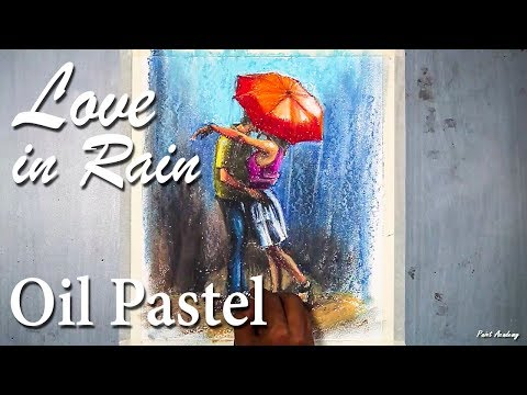 Love in Rain Drawing in Oil Pastel step by step