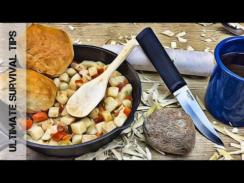 """DIY - How to """"Bushcraft"""" a Camp Spoon Hack - Knife + Rock + Stick = Spoon /  Survival Carving Basics"""