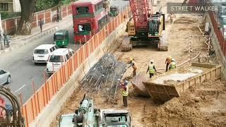 মেট্রোরেলের নির্মাণ কাজ, পাইলিং এবং তীব্র যানজট || Metrorail Project Work || Street Walker