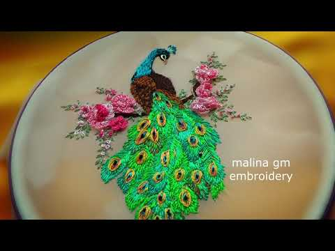 Embroidery: Blue Peacock With Roses || Вышивка: Голубой Павлин