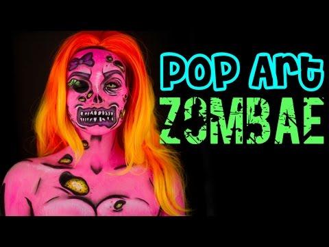 "How to do a Pop Art Zombie - "" ZOMBAE "" Makeup tutorial - UCoziFm3M4sHDq1kkx0UwtRw"