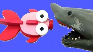 3D Wooden Puzzle Fish/Funny Shark Puppet Eating the Fish Toy and breaking it apart/Kids Learning fun
