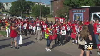 Catering Workers Protest At American Airlines Headquarters