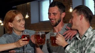 Happy Young People Clinking Their Beers and Smiling To the Camera | Stock Footage - Videohive