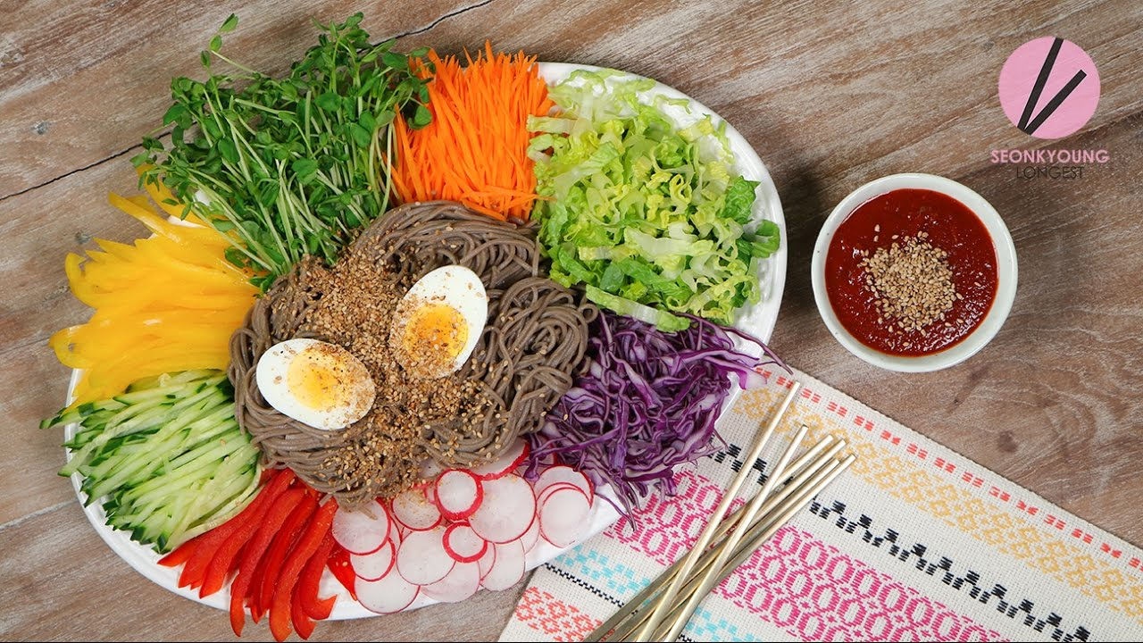 Korean Cold Noodles on a Tray, Jaengban Makguksu | Asian at Home