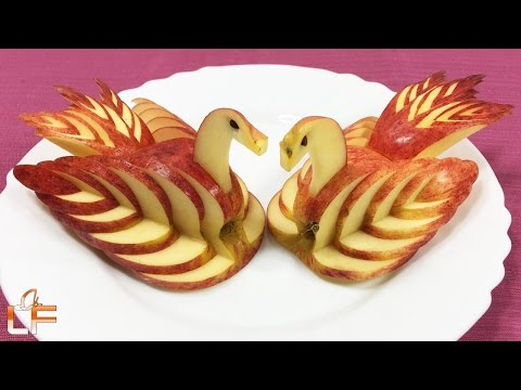 How to Make Apple Swan Garnish - Fruit Carving Video For Beginners - UCkOGKpNsyvm_JQAQplXoq1w