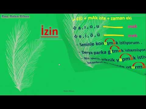 تعلم اللغة التركية (الدرس 8 من المستوى الأول A1) (الصيغة (mAk + istemek) + الاستئذان + الرجاء)