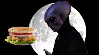 OVNI- l'alien vient acheter un hamburger,il paye avec des cailloux
