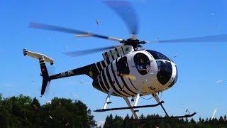 Original Hughes 500 and Turbine RC model Hughes 500 Helicopter Flight