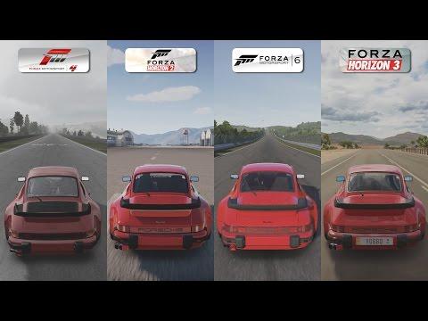 Forza 4 vs Forza Horizon 2 vs Forza 6 vs Forza Horizon 3 - Porsche 911 Turbo 3.3 Sound Comparison - default