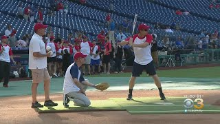 CBS3's Cleve Bryan Plays In Police Athletic League's Media Softball Game