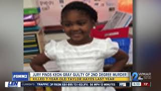 Keon Gray found guilty of second degree murder in death of Taylor Hayes