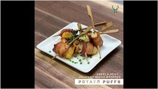 VIDEO: Fan Fuel: Sweet and Spicy Jalapeño Bacon-Wrapped Potato Puffs