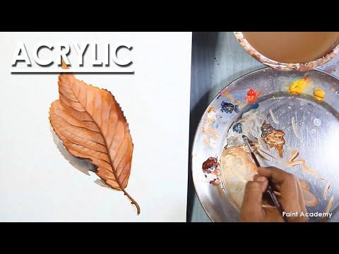 How to Paint Realistic Leaf in Acrylic | step by step technique