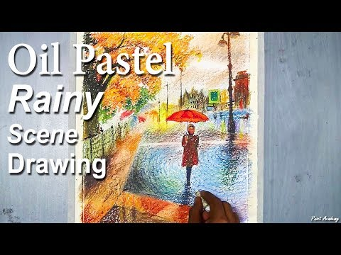 A Rainy Day composition on Oil Pastel | step by step Drawing