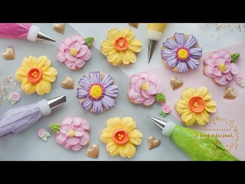 How To Make Royal Icing Apple Blossom Flowers By Cookies Cupcakes